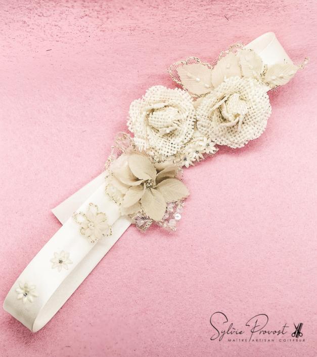 Headband crème avec fleurs et strass