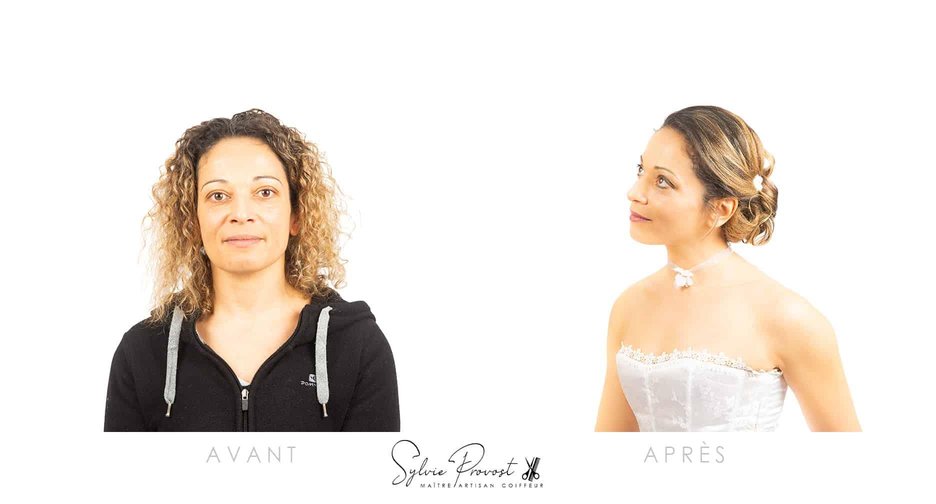 Avant - après : chignon de mariée bas classique