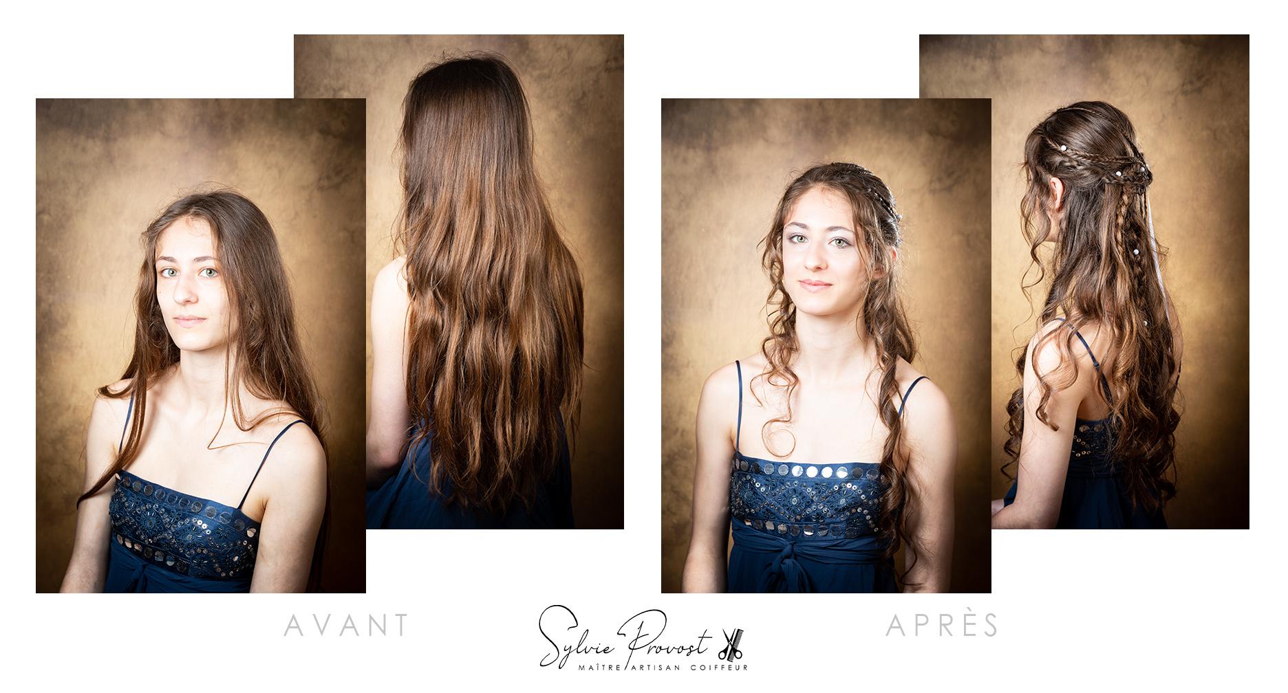 Thème médiéval : avant-après la coiffure